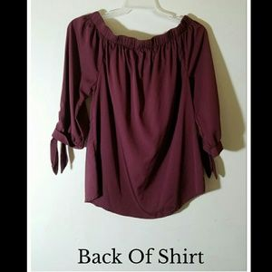 time to bloom Tops - Gorgeous burgandy off the shoulder top